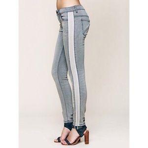 Free People Gray Leather Side Stripe Skinny Jean